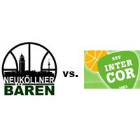 Logos der Vereine SV Neukölln 09 (Neuköllner Bären) und SSV Intercor