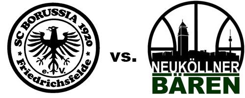 Logos der Vereine SCB Friedrichsfelde und SV Neukölln 09 (Neuköllner Bären)